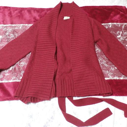 香港製赤紫ワインレッド色帯付きカーディガン/羽織 Made in Hong Kong red purple wine red color cardigan/coat_画像1