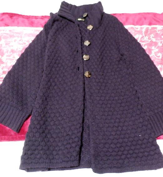 紫パープルの手編みロングカーディガン/羽織 Purple knit long cardigan/coat_画像1