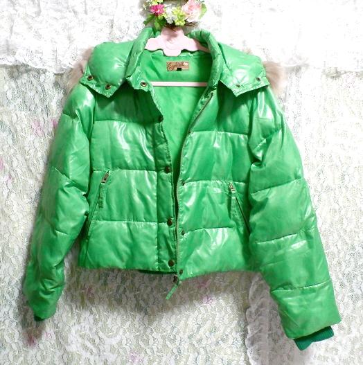 蛍光緑グリーンラクーンファーフード中綿ダウンコート/アウター Fluorescent green racoon fur hood down coat/outer_画像3