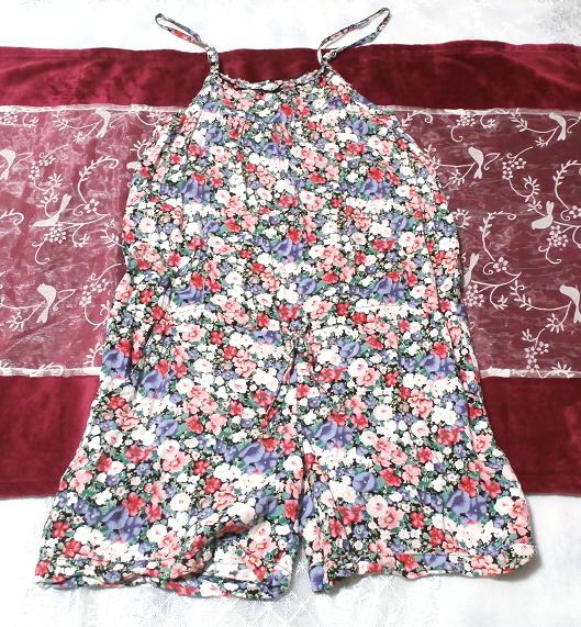 青赤白花柄キャミソールネグリジェキュロット寝巻き Blue red white floral pattern camisole negligee culottes_画像1
