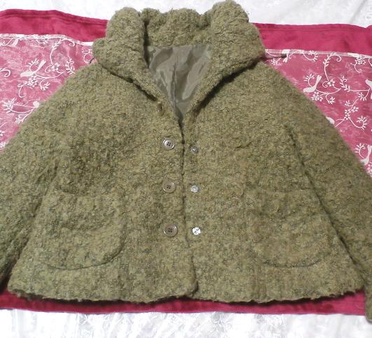 深緑グリーンのあったかふわふわショートファーコート/外套 Dark green fluffy short fur coat_画像1