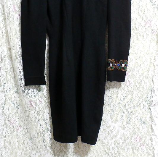 コスプレ用宝石付き黒ブラックローブセーター/トップス/ニット/ワンピース Cosplay jeweled black sweater/tops/knit/onepiece_画像2