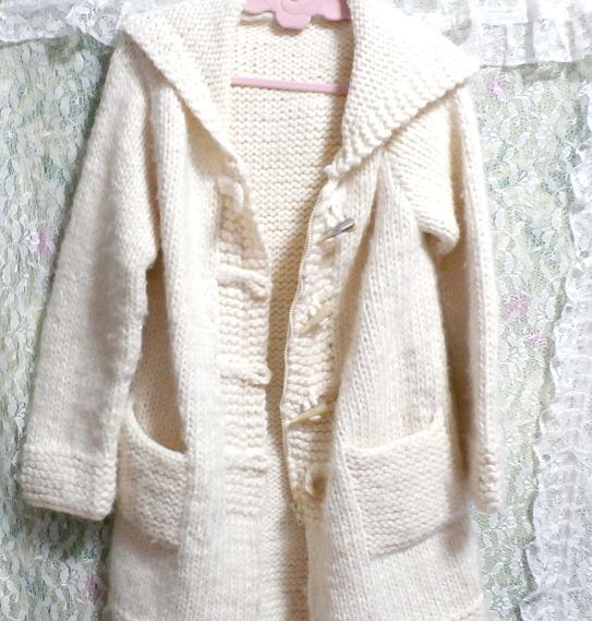 フローラルホワイト編みセーター風貝殻ボタンフード付き厚めカーディガン/アウター Floral white knit sweater hooded thick cardigan_画像6