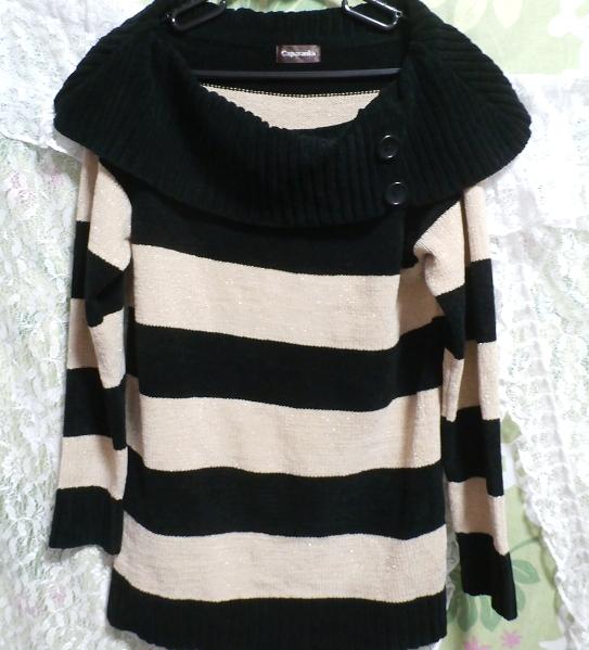 黒と黄色の縞々厚着/セーター/ニット/トップス Black yellow striped/sweater/knit/tops_画像2