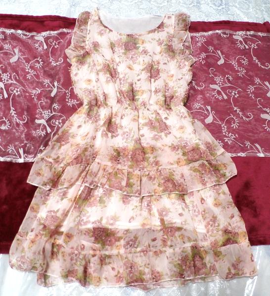 淡いピンクの花柄フリル可愛いミニワンピース/チュニック Light pink flower pattern ruffle cute little dress/tunic