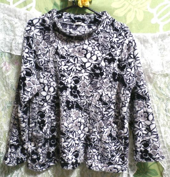 切り絵柄黒白灰色花柄/セーター/ニット/トップス Cutting pattern black white gray floral pattern/sweater/knit/tops,ニット、セーター&長袖&Mサイズ
