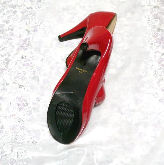 ヒール10cm真っ赤なセクシーハイヒールパンプス靴 Heel 3.93 in red crimson sexy high heel pumps shoes_画像3