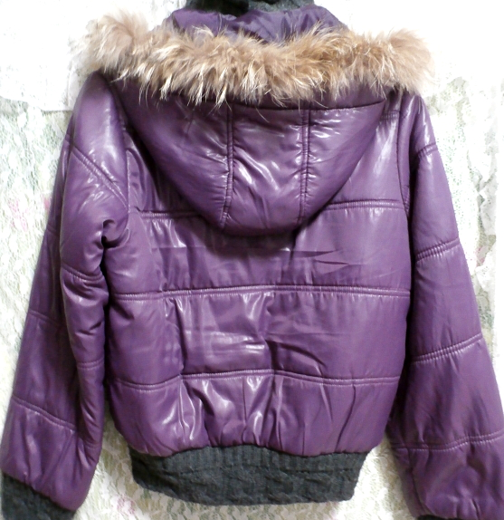 紫パープルラビットファーフードブルゾンコート/アウター Purple rabbit fur hooded blouson coat/outer_画像2