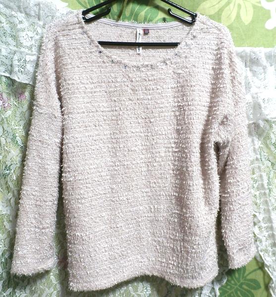 淡い薄ピンク色ダイヤ風宝飾付き/セーター/ニット/トップス Light thin pink/sweater/knit/tops,ニット、セーター&長袖&Mサイズ