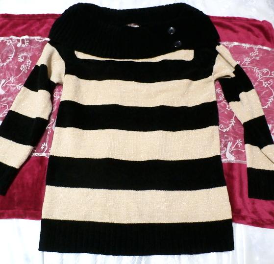 黒と黄色の縞々厚着/セーター/ニット/トップス Black yellow striped/sweater/knit/tops_画像1