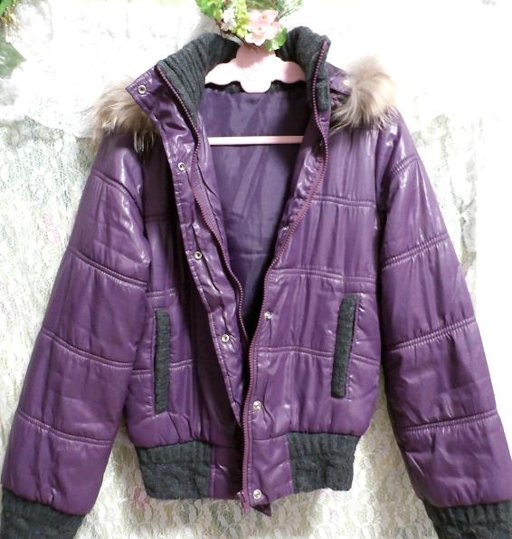 紫パープルラビットファーフードブルゾンコート/アウター Purple rabbit fur hooded blouson coat/outer_画像3