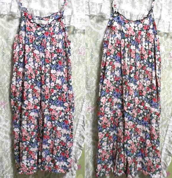 青赤白花柄キャミソールネグリジェキュロット寝巻き Blue red white floral pattern camisole negligee culottes_画像3