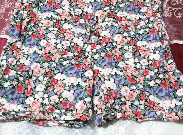 青赤白花柄キャミソールネグリジェキュロット寝巻き Blue red white floral pattern camisole negligee culottes_画像2