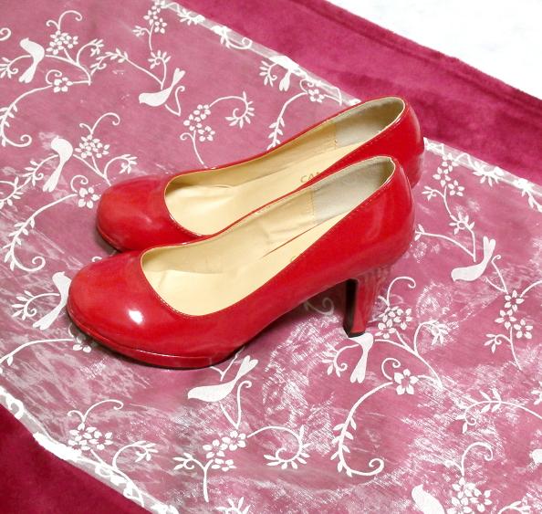ヒール10cm真っ赤なセクシーハイヒールパンプス靴 Heel 3.93 in red crimson sexy high heel pumps shoes_画像7
