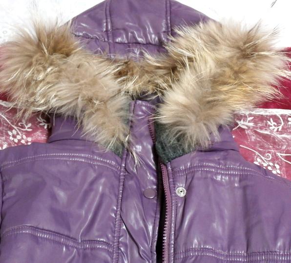 紫パープルラビットファーフードブルゾンコート/アウター Purple rabbit fur hooded blouson coat/outer_画像4