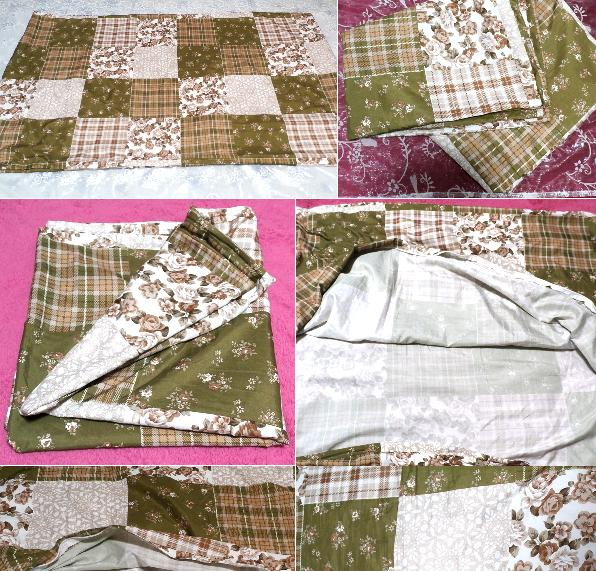深緑と茶色と白の花柄チェックタイル風枕カバーシーツ/アイテム/Items_画像3
