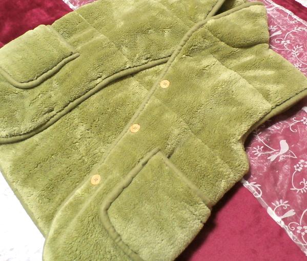 黄緑山吹色のフワフワあったかベスト/羽織 Yellow green Yamabuki color fluffy vest_画像6