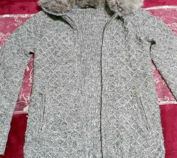 灰色グレーラビット毛皮襟ファーセーター風カーディガン/アウター Gray rabbit fur collar fur sweater style cardigan/outer_画像5