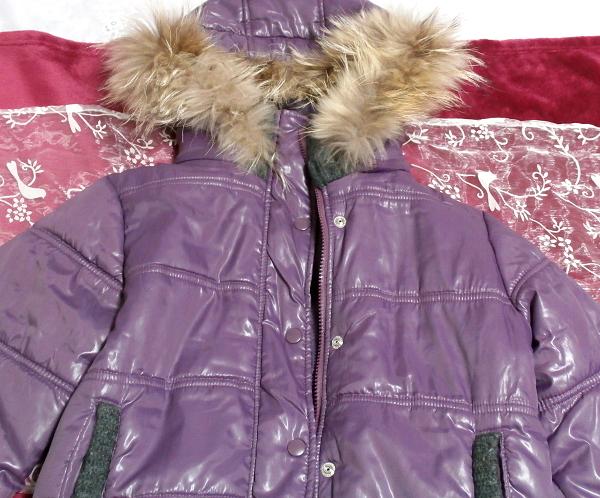 紫パープルラビットファーフードブルゾンコート/アウター Purple rabbit fur hooded blouson coat/outer_画像5