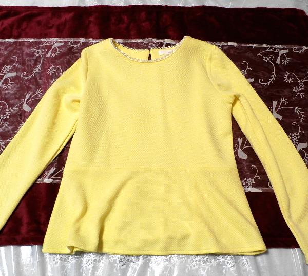 黄色のエレガント長袖/セーター/ニット/トップス Yellow elegant long sleeve/sweater/knit/tops,ニット、セーター&長袖&Mサイズ