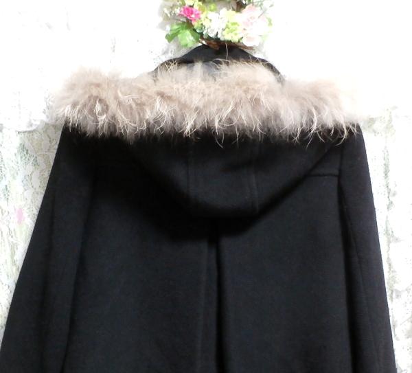黒ブラックポンチョケープ風ラクーンファー毛皮フードコート/アウター Black poncho cape style racoon fur fur hood coat/outer_画像6