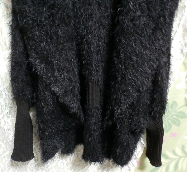 黒のあったか毛皮風カーディガン上着/羽織 Black warm cardigan jacket/coat_画像5