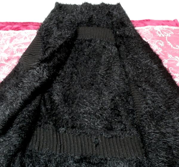 黒のあったか毛皮風カーディガン上着/羽織 Black warm cardigan jacket/coat_画像4