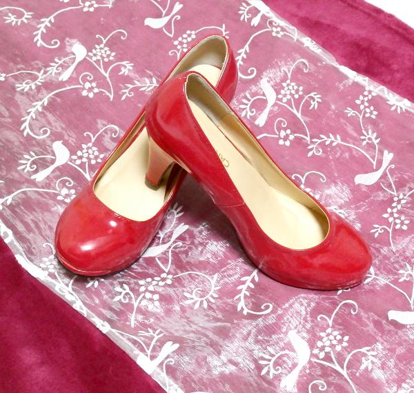 ヒール10cm真っ赤なセクシーハイヒールパンプス靴 Heel 3.93 in red crimson sexy high heel pumps shoes_画像2