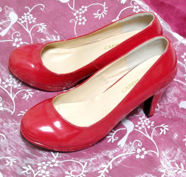 ヒール10cm真っ赤なセクシーハイヒールパンプス靴 Heel 3.93 in red crimson sexy high heel pumps shoes_画像1