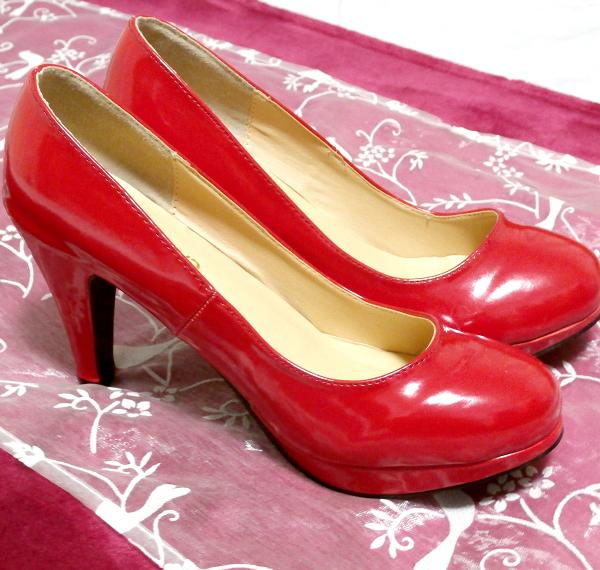 ヒール10cm真っ赤なセクシーハイヒールパンプス靴 Heel 3.93 in red crimson sexy high heel pumps shoes_画像6