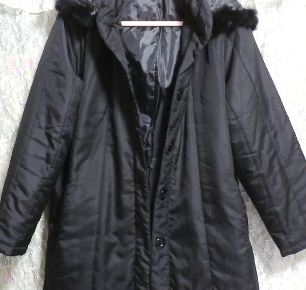 黒ブラックファーフードジャンパーコート/羽織/アウター Black fur hood jumper coat/outer_画像5