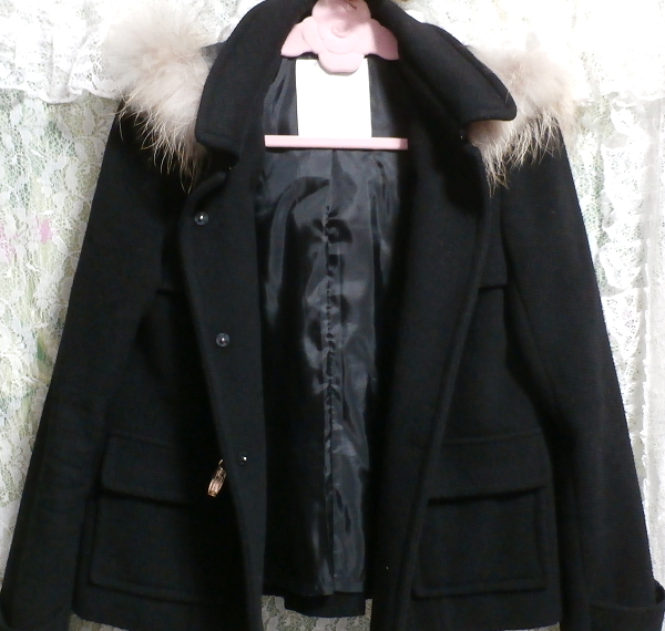 黒ブラックポンチョケープ風ラクーンファー毛皮フードコート/アウター Black poncho cape style racoon fur fur hood coat/outer_画像2