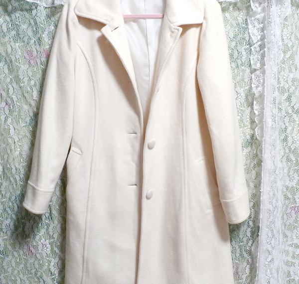 フローラルホワイト白ウールとアンゴラロングコート/アウター Floral white wool angola long coat/outer_画像6