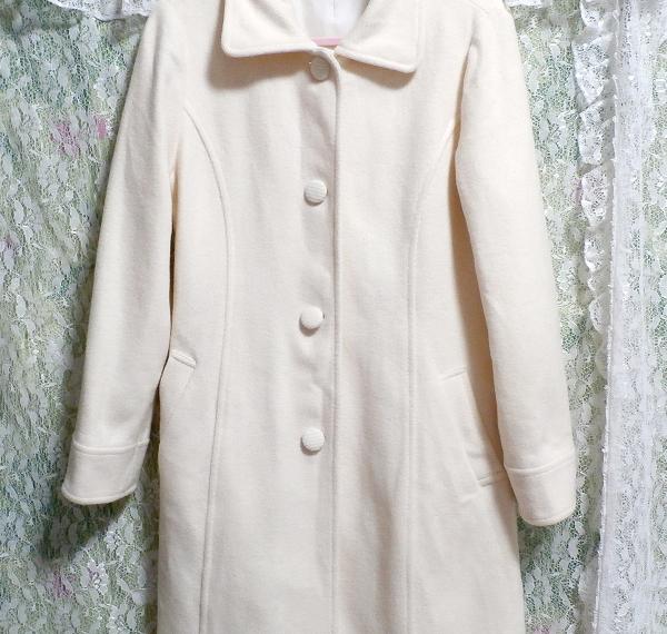 フローラルホワイト白ウールとアンゴラロングコート/アウター Floral white wool angola long coat/outer_画像5