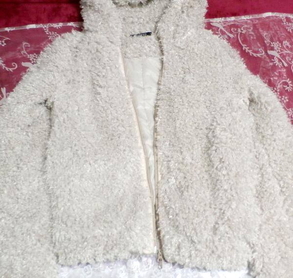 白グレーもこもこフワフワフード付きカーディガンコート/アウター White gray fluffy hooded cardigan coat/outer_画像4