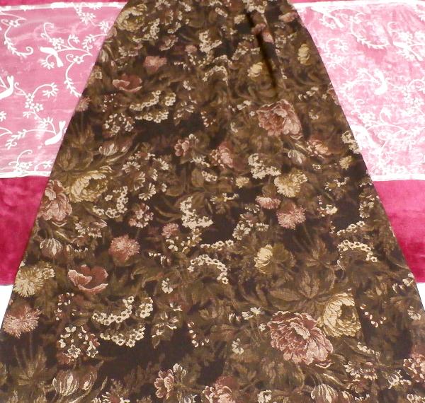 茶色ブラウン花柄ロングマキシスカート/ボトムス Brown flower pattern long maxi skirt_画像2