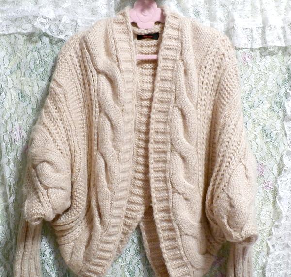 亜麻色ピンクセーター風逆ハート型カーディガン/アウター Flax color pink sweater style reversing heart type cardigan/outer_画像2