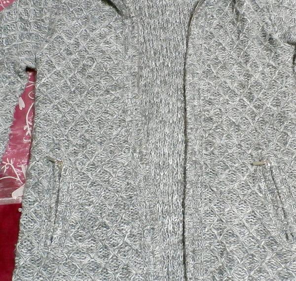 灰色グレーラビット毛皮襟ファーセーター風カーディガン/アウター Gray rabbit fur collar fur sweater style cardigan/outer_画像4