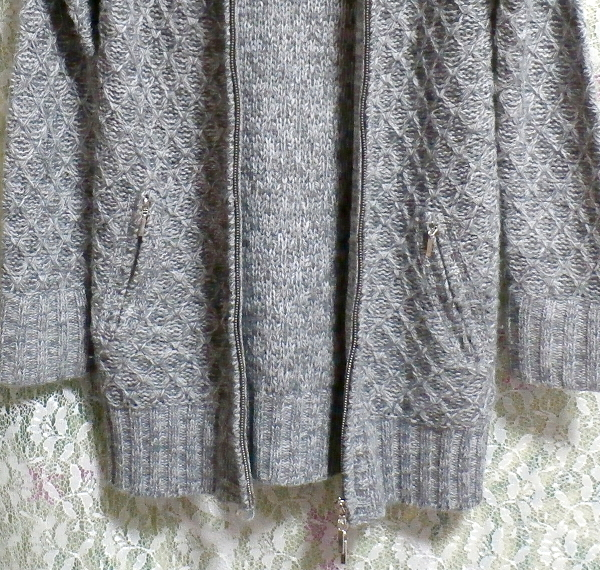 灰色グレーラビット毛皮襟ファーセーター風カーディガン/アウター Gray rabbit fur collar fur sweater style cardigan/outer_画像6