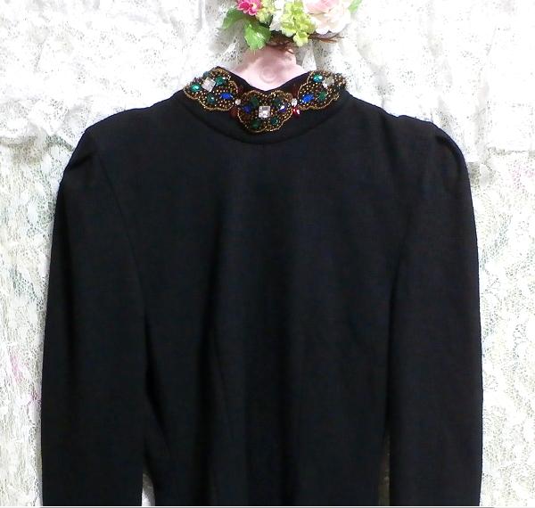 コスプレ用宝石付き黒ブラックローブセーター/トップス/ニット/ワンピース Cosplay jeweled black sweater/tops/knit/onepiece_画像4