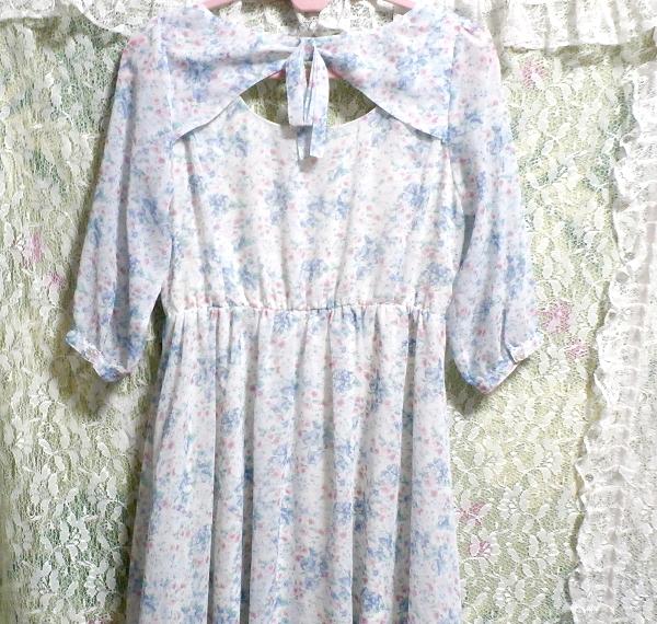 淡い水色花柄シフォンチュニック/トップス/ワンピース Light blue flower pattern chiffon tunic/tops/onepiece_画像3
