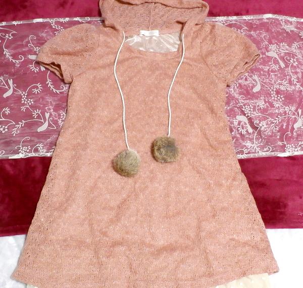 ラビットボンボンピンク裾白フリル半袖チュニック/トップス Rabbit bonbon pink hem white ruffle short sleeve tunic/tops_画像2
