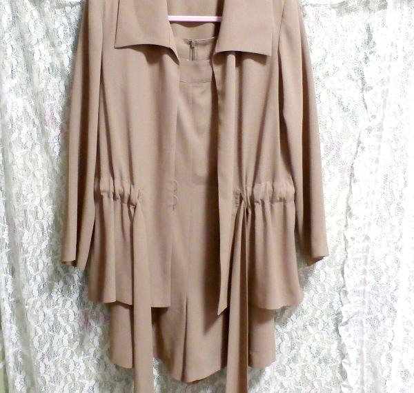 ベージュ亜麻色のシンプルな羽織カーディガンとワンピースキュロット2点セット Simple cardigan beige flax color culottes 2 piece set_画像5