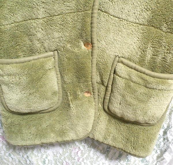黄緑山吹色のフワフワあったかベスト/羽織 Yellow green Yamabuki color fluffy vest_画像3
