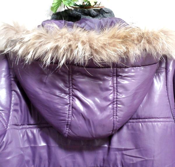 紫パープルラビットファーフードブルゾンコート/アウター Purple rabbit fur hooded blouson coat/outer_画像6