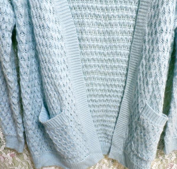 青水色編みカーディガン/アウター Light blue knit cardigan/outer_画像3