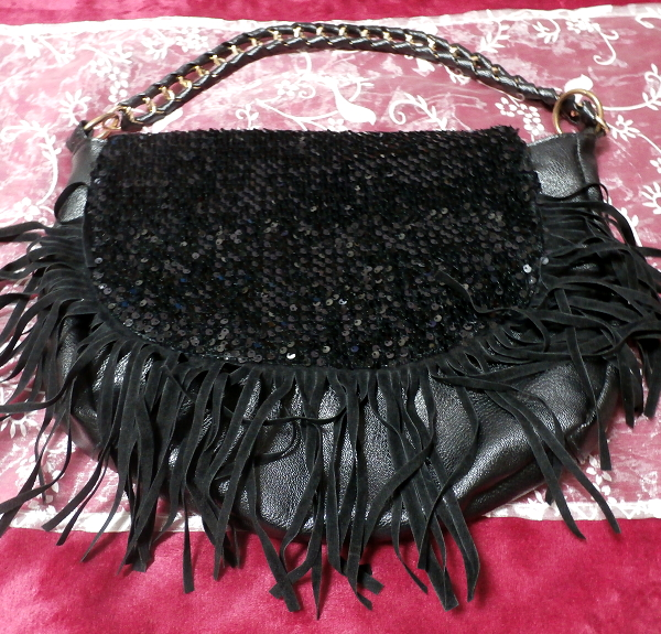 漆黒の皮製紐付ラメハンドバッグ/アイテム/Items_画像2