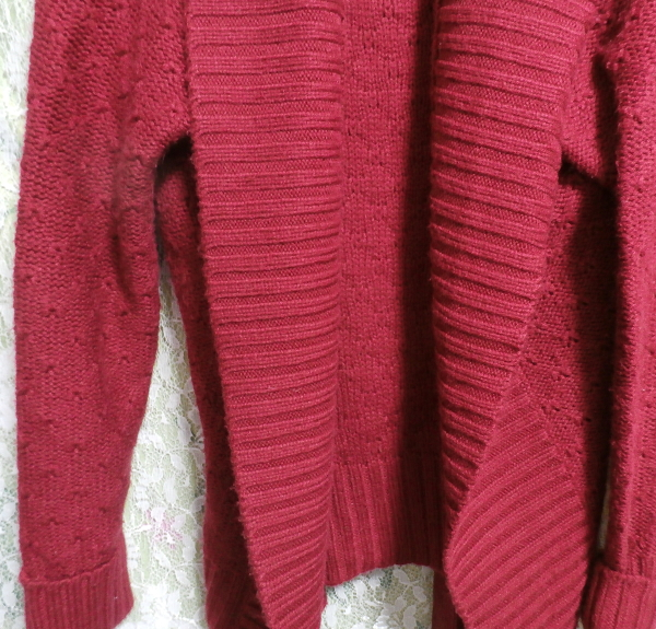香港製赤紫ワインレッド色帯付きカーディガン/羽織 Made in Hong Kong red purple wine red color cardigan/coat_画像3