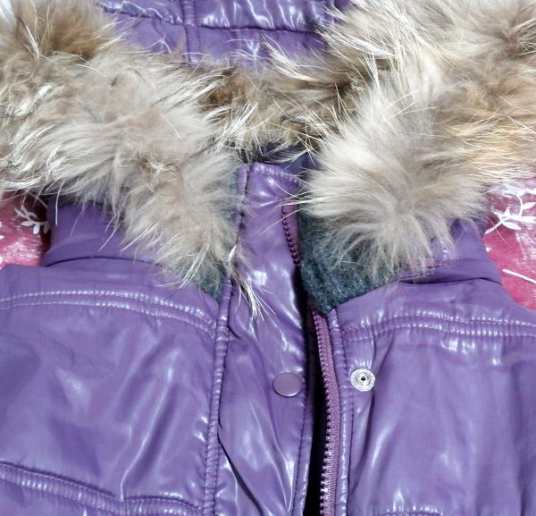 紫パープルラビットファーフードブルゾンコート/アウター Purple rabbit fur hooded blouson coat/outer_画像7