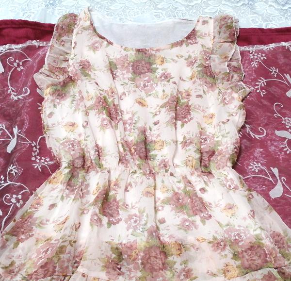 淡いピンクの花柄フリル可愛いミニワンピース/チュニック Light pink flower pattern ruffle cute little dress/tunic_画像2